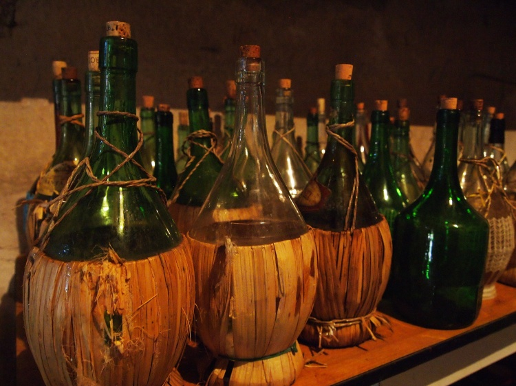When the wine is almost finished, it goes in bottles like these.