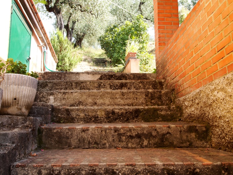 Picturesque stairs reflect the home's medieval history.