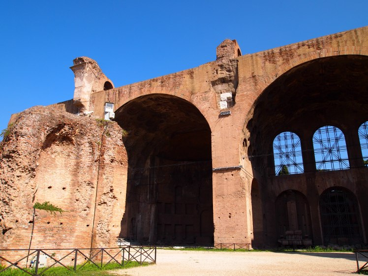 The remnants of the Basilica Maxentius, one of the last basilicas built in ancient Rome.