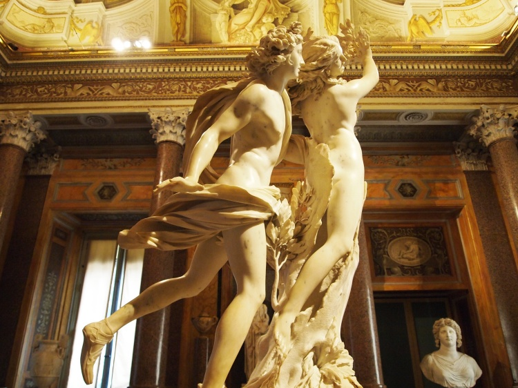 Another statue by Bernini, this time of Apollo chasing Daphne as her father turns her into a laurel tree.