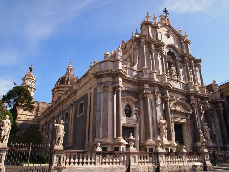 Catania's Cathedral of Saint Agatha was built and destroyed by earthquakes and volcanic eruptions several times before coming into its current Baroque state.