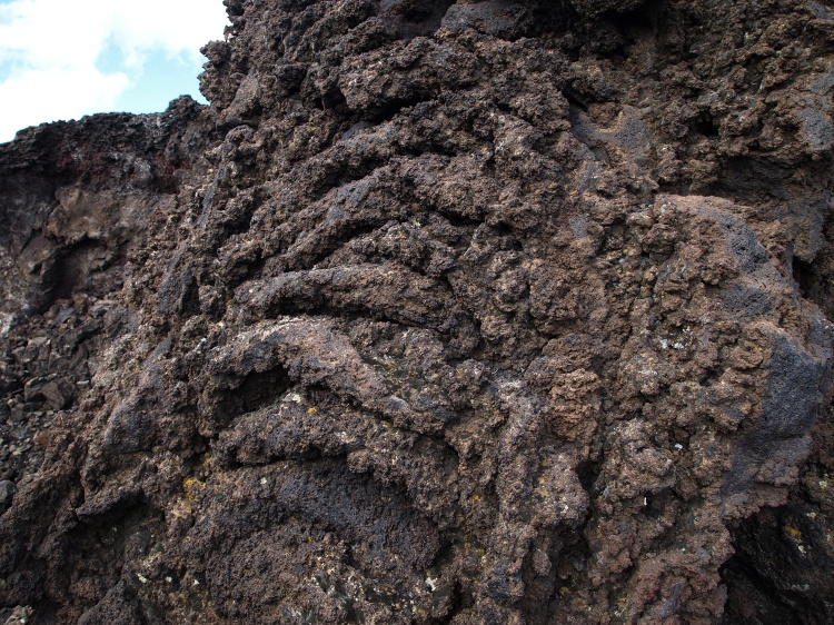 This crater's lava slurped out - it didnt flow or gush out. We can see the layers that this action produced.
