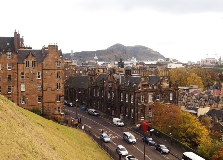 "The view from the castle's ""driveway"" was spectacular. That's Arthur's Seat in the background - the hill that we hiked just one day earlier."