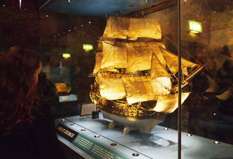 "A ship displayed outside of the ""Prisoner of War"" exhibit showed visitors the types of vessels the Scottish army might have used. We learned that all of the prisoners quartered in Edinburgh Castle were treated very well."