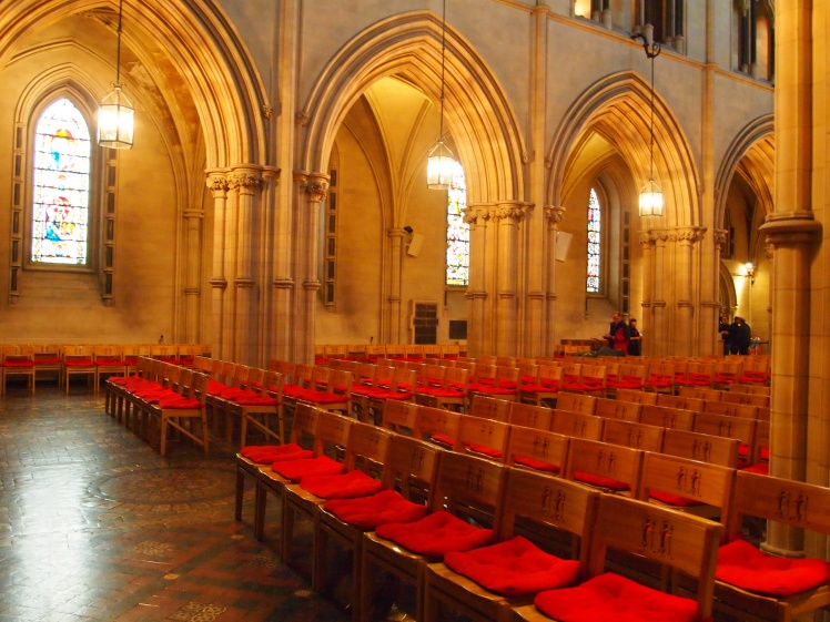 Rows and rows of seats for worshipers.