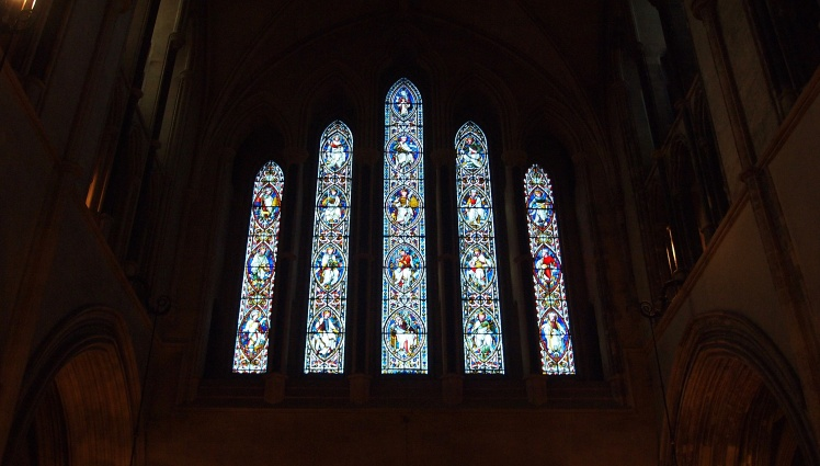 Beautiful stained glass windows adorn the walls of Christ Church Cathedral.